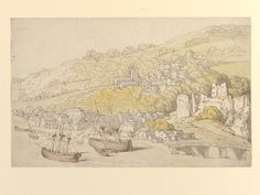 A sketch in pen and wash of Chepstow by Thomas Rowlandson, late century - early century. Pen And Wash, Art Fund, Artist Materials, Arts And Crafts Projects, British Isles, 18th Century, Vintage World Maps, Watercolor, Explore