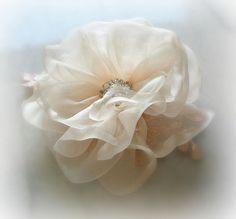 Blush Pink Hair Flower Bridal Fascinator White by TheRedMagnolia