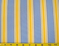 Faye Burgos for Marcus Brothers Quilting Fabric Yellow and Blue Stripes Priced per Half Yard