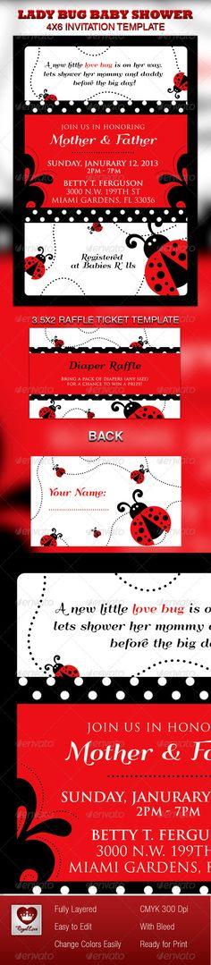 Lady Bug Baby Shower Invitation & Raffle Ticket
