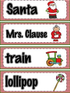 Christmas Vocabulary to Read and Write the Room: Freebie
