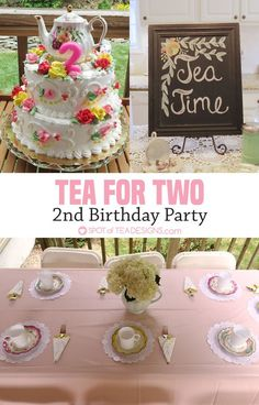 See a sweet Victorian style Tea for Two birthday party for a two year old, including foods, decorations, games and favors. 2 Year Old Birthday Party Girl, Second Birthday Ideas, Girls Birthday Party Themes, Frozen Birthday Party, Third Birthday, Toddler Tea Party, Girls Tea Party, Tea Party Theme, Up Girl