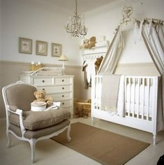 Neutral Baby Room- Love the chandelier