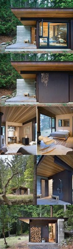 Single room cabin on an island north of the San Juans. The exterior metal skin will be allowed to weather naturally. Inside, wood-finished surfaces create a cozy refuge. A large, weathered steel panel slides across a window wall, securing the space when the owner is away.   Tiny Homes