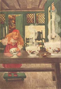 "Illustration of ""Goldilocks and the Three Bears"" -- by Jessie Willcox Smith"