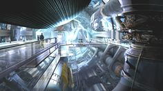 Star Trek Into Darkness concept art-inside the Enterprise Star Trek Bridge, Uss Enterprise Cvn 65, Spaceship Interior, Sci Fi Spaceships, Star Trek Into Darkness, Star Trek Ships, Futuristic Art, Cyberpunk Art, Environment Concept