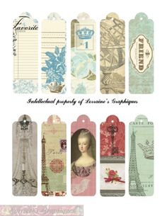 French Inspired  Skinny Digital Tags. LorrainesGraphiques, via Etsy.