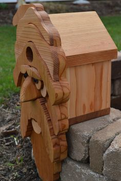 Large Bearded Old Man Cedar Birdhouse / Santa by InkedWoodworking