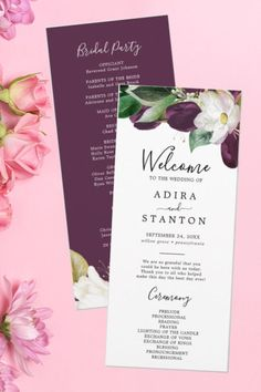 This modern floral Wedding Program features an elegant design of dark plum purple and white tulip flowers with emerald green leaves and gold leaf accents.  The script includes the name of the bride and groom, the wedding date and location, thank you message, order of service or the wedding ceremony timeline and it can be edited and personalized. Fit for winter weddings Wedding Programs Simple, Classy Wedding Invitations, Minimalist Wedding Invitations, Order Of Wedding Ceremony, Wedding Ceremony Programs, The Wedding Date, Elegant Modern Wedding, Wedding Timeline, White Tulips