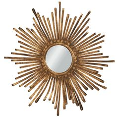 sunburst golden metal ribbon mirror; 26x26