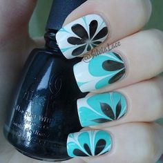 White teal black flowers  #nails DIY NAIL ART DESIGNS