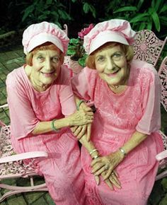 Elderly twins in pink #twins #doppelganger #gemelli - Carefully selected by…