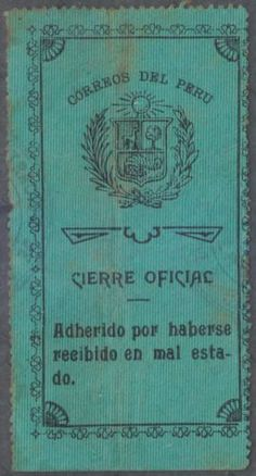 PERU-1920-OFFICIAL-SEALS-Sc-Unlisted-Drummond-OS16a-VARIETY-BROKEN-FAN-USED-RARE