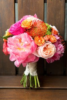 Colorful Peony, Rose and Ranunculus Wedding Bouquet