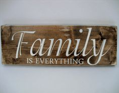 Rustic Wood Sign Wall Hanging Home Decor - Family Is Everything ( Family Wood Signs, Family Name Signs, Rustic Wood Signs, Wooden Signs, Wood Colors, Dark Colors, Family Is Everything, Rustic Charm, Gifts For Family
