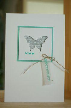 Glückwunsch Karte mit Stampin up Schmetterling in Jade