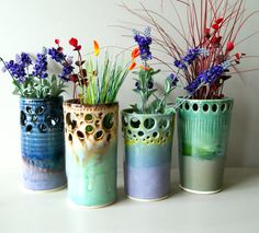 Vase / Ready to Ship / Handmade Wheel-Thrown Ceramic Pottery/ Soft Green, Cream, and Brown.  LOVE these!