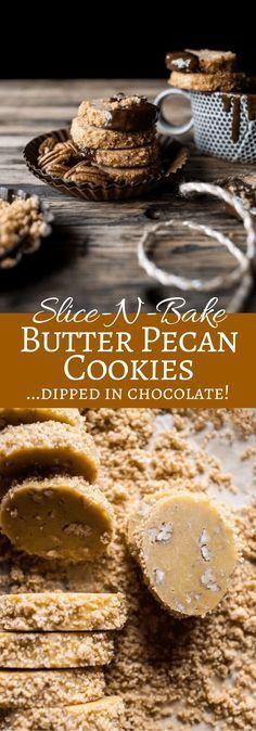 Slice-N-Bake Butter Pecan Cookies... Dipped in Chocolate! | http://halfbakedharvest.com /hbharvest/