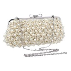 Women's Pearl Clutch Purse Cocktail Bowknot Handle Elegant Ladies Evening Bags #New #Clutch