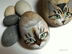 Painted rocks. Kitties.