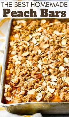 I love peaches and when they're in season in July and August, I always make several batches of this simple, peach streusel bars recipe. It's the best with fresh peach filling and loads of cinnamon almond oatmeal streusel. They're my husband's favorite and the kids love them too. So moist and tender, you'll want a fork and plate! Grilling Recipes, Gourmet Recipes, Sweet Recipes, Dessert Recipes, Easy Recipes, Low Carb Vegetarian Recipes, Bite Size Desserts, Streusel Topping, Desert Recipes