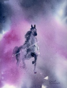 Watercolor Painting Horse Art, Horse Painting, Horse Watercolor, Horse Art Print,  Equine Art, Print Art Titled Arabian Knight. $25.00, via Etsy.