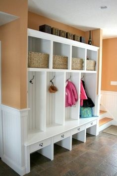 Cottage Mud Room with can lights, Paint, onyx tile floors, Mudroom locker mud room bench coat rack shoe bench, Wainscotting