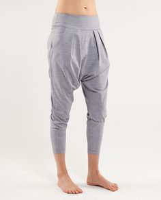 "Siiigh ""Happy Hatha Crop"" in heathered fossil. From Lululemon. $88"