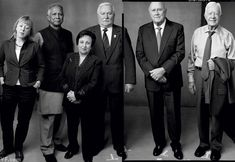 Nobel Peace Laureates from Left Jody Williams, Professor Muhammad Yunus, Dr. Shirin Ebadi, Lech Walesa, F.W. de Klerk and Jimmy Carter photo by Annie Leibovitz for Vanity Fair August 2012