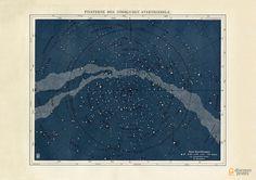 Starmap Northern Hemisphere Art Print Milky Way par Discoverprints