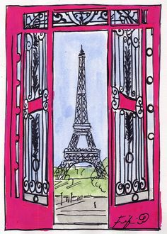 Gates to Paris in Pink on Watercolor paper by Fifi Flowers.