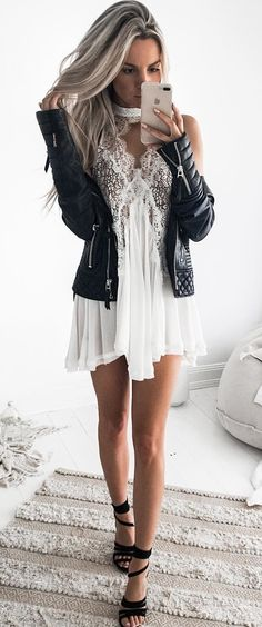 summer  outfits Black Leather Jacket + White Lace Dress + Black Sandals  Zimná Móda efceec1e497