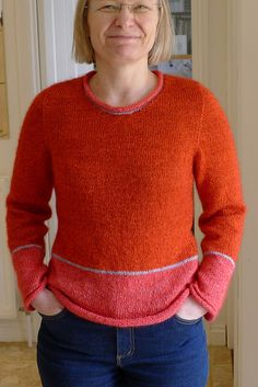 Ravelry: ElaineZoes Simply Red; seamless; top-down; set-in sleeves