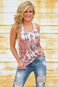 Sometimes all you need is a super cute tank and some ripped jeans Choose Your Own Path Tank from Closet Candy Boutique