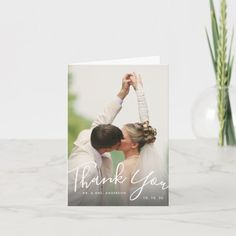 Chic Hand Lettered Script Photo Wedding Thank You Card - tap/click to personalize and buy #Card #wedding #photo #handwriting #thank #you