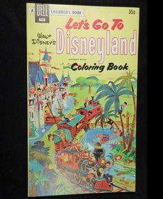 Vintage 1956 Dell Walt Disneys LETS GO TO DISNEYLAND Coloring Book Unused