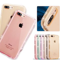 Rhinestone Frame Coque For iPhone 7 7 Plus Case Transparent Clear Slim Soft TPU Crystal Diamond Cover For iPhone 7 i Phone7 Case
