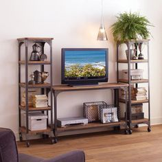 console table for TV stand - tall & narrow TV table - with side shelves for storage (Aiden Console Table)