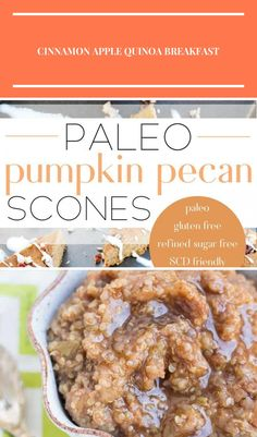 These paleo pumpkin scones are the perfect way to kick off the autumn season! Full of healthy fats and protein they're sure to fuel your whole morning. They're grain free, gluten free, dairy free, refined sugar free and Specific Carbohydrate Diet friendly! // plentyandwell.com // #paleoscones #paleopumpkinscones healthy carbohydrates Grain Free, Dairy Free, Gluten Free, Specific Carbohydrate Diet, Pumpkin Scones, Quinoa Breakfast, Cinnamon Apples, Healthy Fats, Pecan