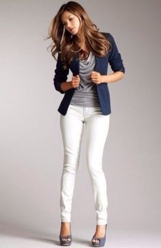 Gray heels/sandals, white skinnies, gray blouse, navy jacket.