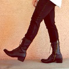 Dolce Vita for Target lace up boots Tall shaft combat boots in black faux leather. Lace up detailing, with gold hardware zipper on side. Worn a few times, some scuffs and scratches. Heels and soles show signs of normal wear. Dolce Vita Shoes Lace Up Boots
