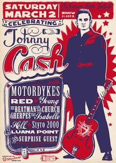Johnny Cash tribute. #muiscart #gigposters #tribute http://www.pinterest.com/TheHitman14/music-poster-art-%2B/
