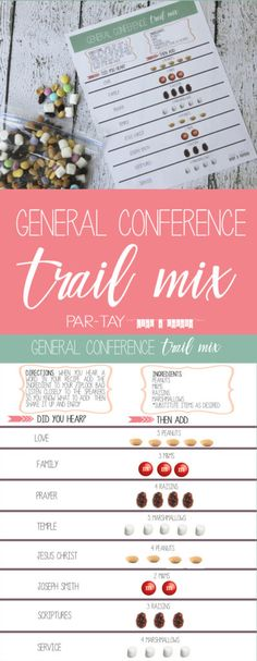 general conference trail mix recipe and activity, great to keep young children engaged! General Conference Activities For Kids, Primary Activities, Primary Lessons, Lds Primary, Primary Music, Church Activities, Activity Day Girls, Activity Days, Visiting Teaching Handouts