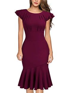 online shopping for Miusol Women's Vintage Style Slim Ruffle Evening Party Dress from top store. See new offer for Miusol Women's Vintage Style Slim Ruffle Evening Party Dress Trendy Dresses, Modest Dresses, Casual Dresses, Dresses For Work, Latest African Fashion Dresses, African Dresses For Women, Dress Fashion, Fashion Outfits, Mode Outfits