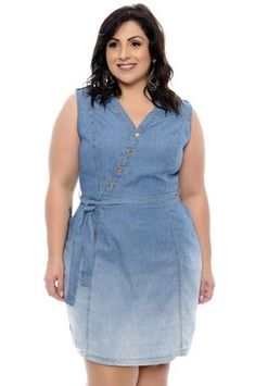 Vestido Chemise Jeans Plus Size Jordane Big Size Dress, Plus Size Dresses, Plus Size Outfits, Dress Shirts For Women, Casual Dresses For Women, Clothes For Women, Women's Clothes, Plus Size Christmas Sweaters, Big And Tall Suits