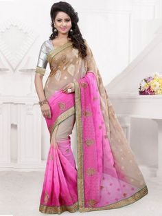 Beige and Pink Chiffon Saree with Embroidery Work