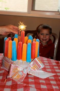 cute craft for a summer birthday!Popcicle Birthday Cake ~ great for a summertime birthday party. stack two pieces of foam and simply stabbed the popcicles in. This would be cute for a of July party! Summer Birthday, Birthday Fun, Birthday Parties, Birthday Cake, Birthday Ideas, Kid Parties, Summer Parties, Birthday Gifts, Popsicle Party