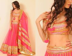 Pink and gold legenga choli. Varun & Nidhika