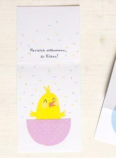 """nd damit das Feiern dann auch umso schöner wird, hab ich euch fröhliche """"Hallo Küken""""- Klappkarten zur Geburt gemacht. Just Love, Stationery, Paper, Illustration, Projects, Cordial, Cards, Nice Asses, Log Projects"""