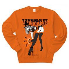 彼女はWITCH ハロウィン・ウィッチ トレーナー Pure Color Print(オレンジ):彼女はWITCH ハロウィン・ウィッチ2です。アメカジ。ピンナップガール系。 by エロカワ。Tシャツはコチラ:小悪魔ガーリー系とオカメインコちゃんとペンギン族